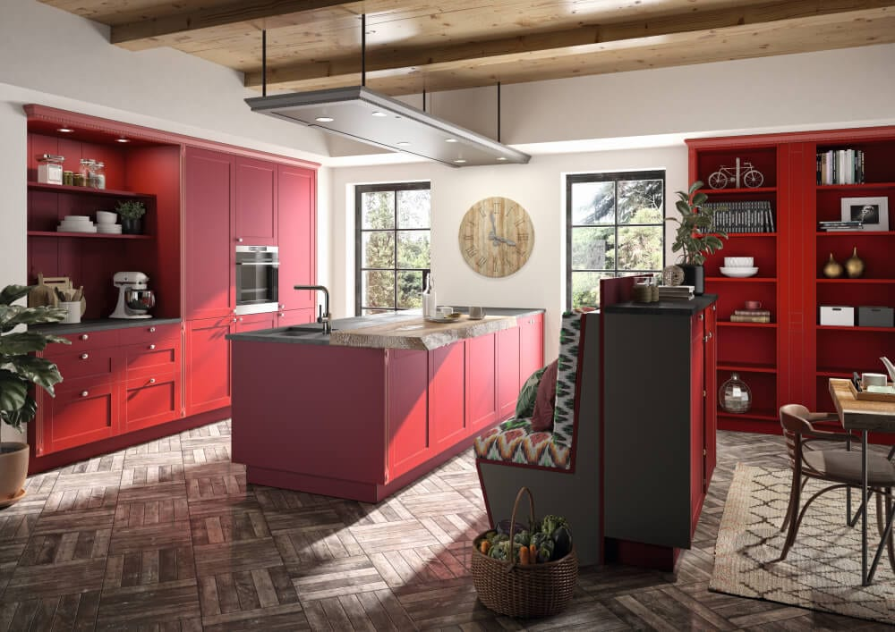 HAKA Küche - Küche im Landhausstil - Kücheninsel - rot